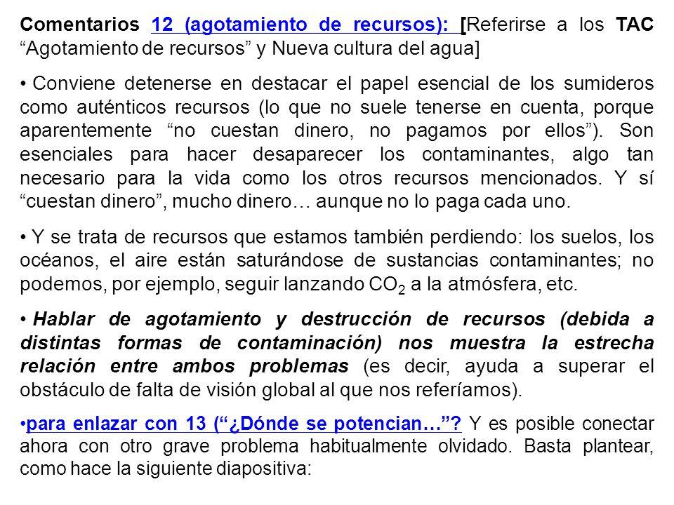 Comentarios 12 (agotamiento de recursos): [Referirse a los TAC Agotamiento de recursos y Nueva cultura del agua]